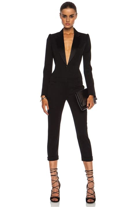 black jumpsuit for wedding mcqueen cigarette tuxedo wool jumpsuit in
