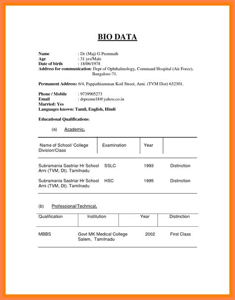 How To Prepare Biodata by 14 How To Prepare A Biodata Resume Package