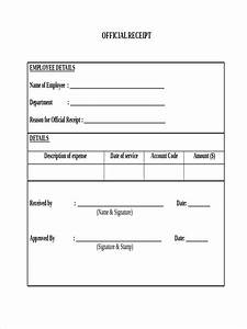 Empty Receipt Template Blank Official Receipt