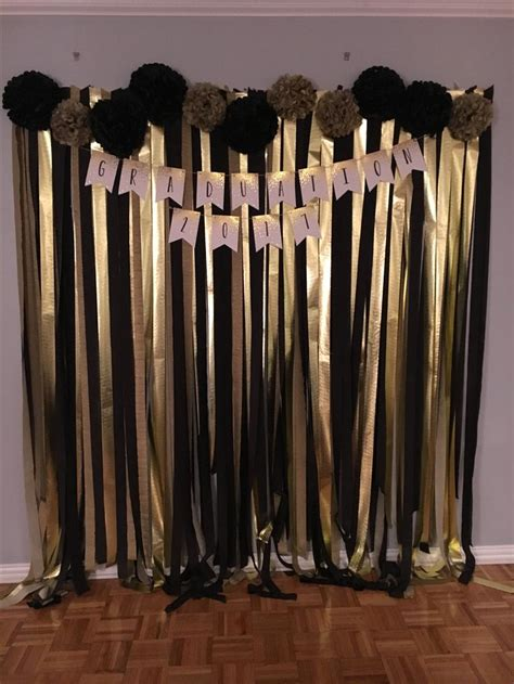 Check out our graduation party decorations 2018 selection for the very best in unique or custom, handmade pieces from our shops. Black and Gold Graduation Photo Wall   Graduation party decor, Gold birthday party, Gold party ...