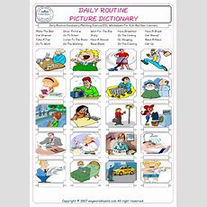 Daily Routine Vocabulary Matching Exercise Esl Worksheets For Kids And New Learners Tricotin