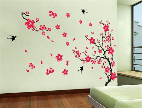 yyone plum blossom red flowers tree branch swallows art