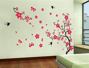 yyone plum blossom red flowers tree branch swallows art With wall decoration stickers