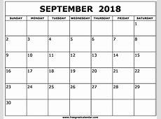 September 2018 Printable Calendar month printable calendar