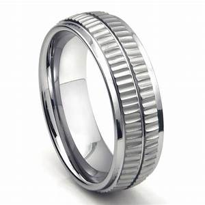 tungsten carbide double coin edge wedding band ring With tungsten carbide wedding ring