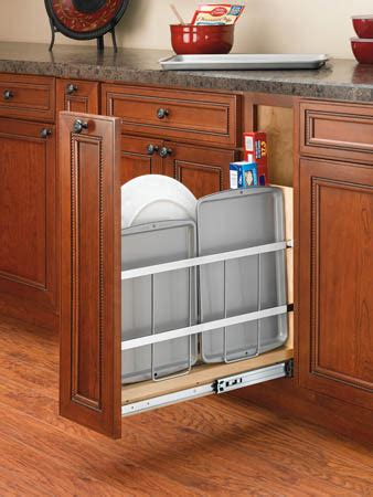 kitchen cabinet tray organizer revashelf 5 quot wood tray divider foil holder pullout