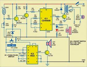 Simple Mock Alarm With Call Bell Circuit Diagram