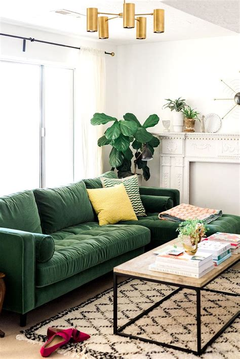 Living Room  Green And Gold Interior With Modern Eclectic