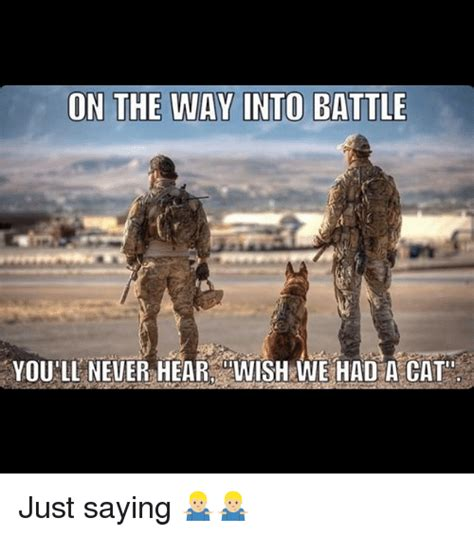 Just Saying Meme - on the way into battle youll never hear wishrwe had a cat just saying meme on sizzle