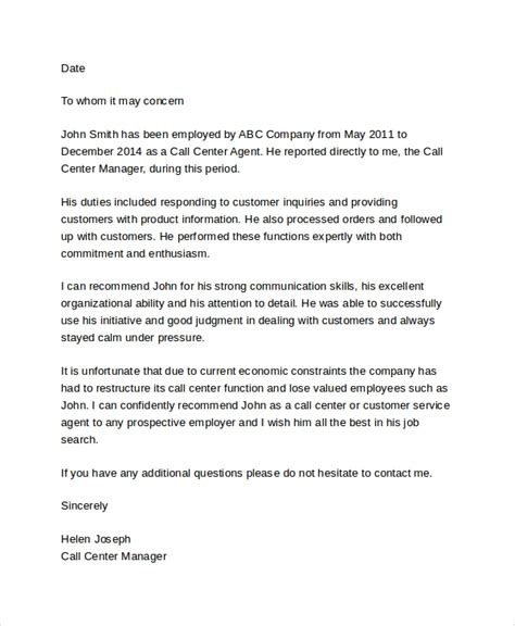 sample employment reference letter  documents   word