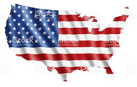 The American Flag In The Shape Of The United States Stock