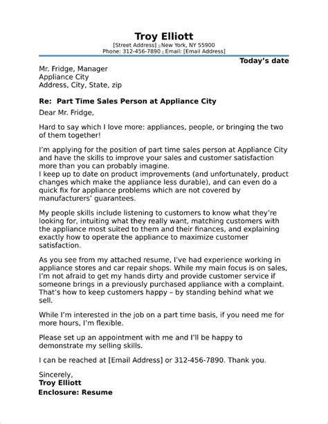 time cover letter part time cover letter sle