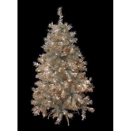 walnart 4 ft pre lit rose tinsel christmas tree 4 5 pre lit silver tinsel artificial tree clear lights walmart