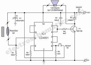 warning alarm circuit with cd4001 With alarm circuit