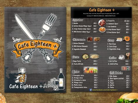 cafe  food menu card design  parvez raton  dribbble