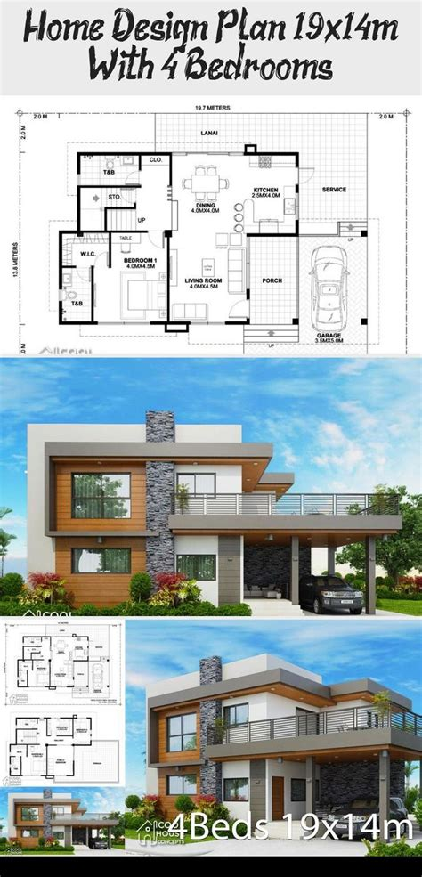 Home design plan 19x14m with 4 bedrooms Home Design with