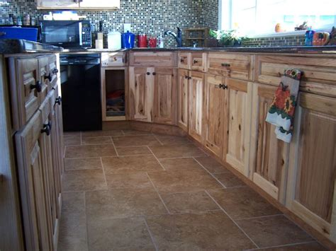 hickory cabinets tile floors quartz countertops