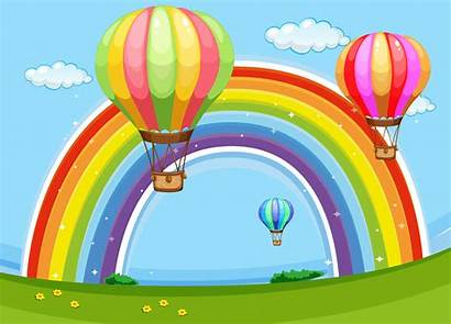 Rainbow Balloons Colorful Flying Vector Clipart