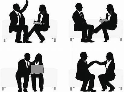 Silhouette Sitting Business Couch Talking Executives Clip
