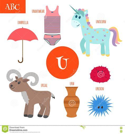 letter  cartoon alphabet  children unicorn umbrella