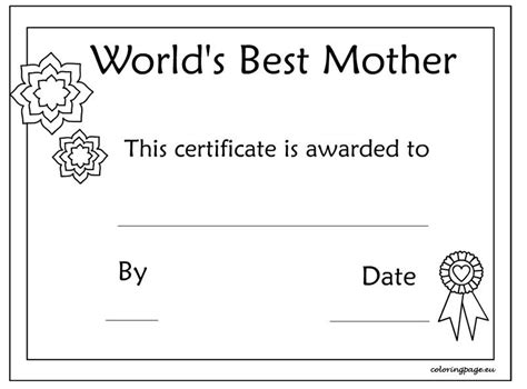 printable mothers day certificate template