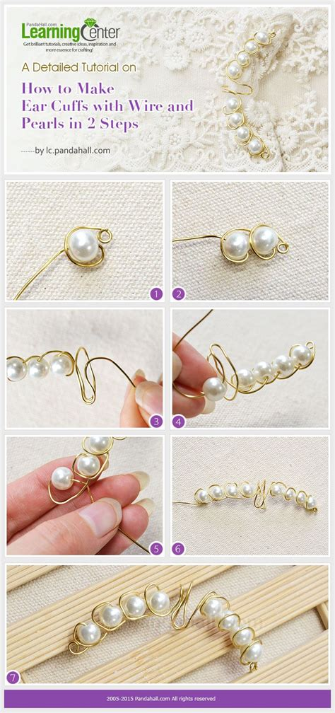 a detailed tutorial on how to make ear cuffs with wire and pearls in 2 steps diy ear cuffs