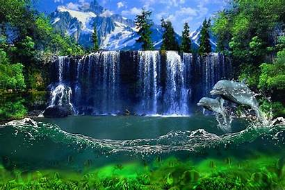 Waterfall Nature Animated Gifs Water Scenes Dolphins