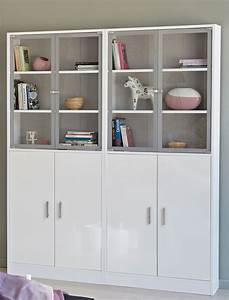 Schrank weiss 2x vitrine vitrinenschrank wohnzimmer for Schrank wohnzimmer weiß