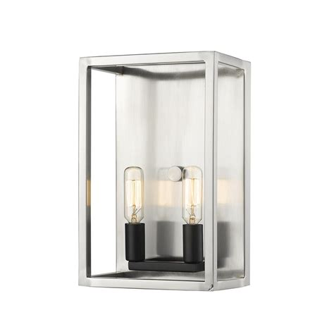 2 light wall sconce brushed nickel black and