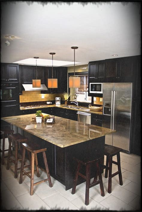 small kitchen flooring ideas black l shaped kitchen with island set on white tile 5463