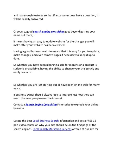 Search Engine Consultants by Search Engine Consulting Firms Will Bail Out Local Business