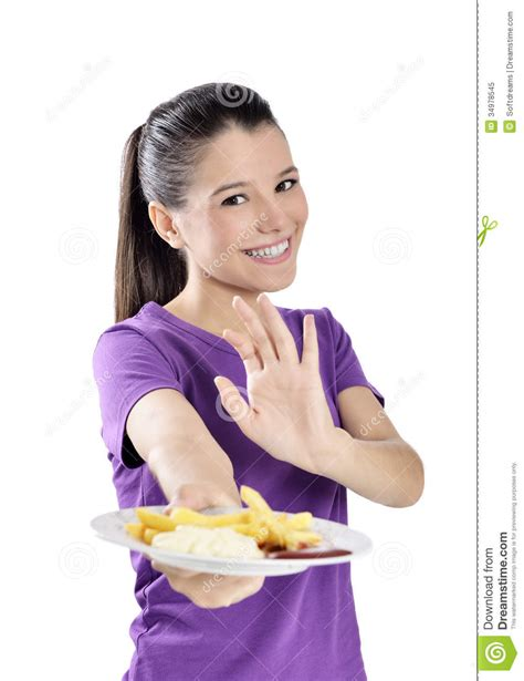 Woman Eating French Fries Royalty Free Stock Photo