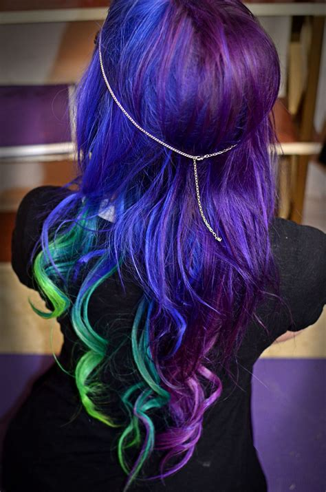 Galaxy Hair Too Cool Blue Purple And Green Dyed Hair
