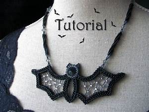 Tutorial For Beadwoven Necklace  U0026 39 Blingy The Bat U0026 39