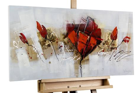 bild abstrakte mohnblumen in rot kaufen kunstloft
