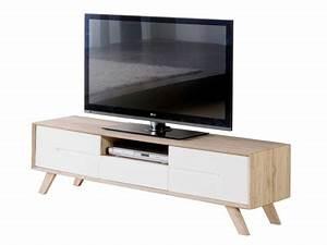 Meuble Tv Blanc Et Bois : meuble tv blanc 150 cm table de television en bois maison boncolac ~ Teatrodelosmanantiales.com Idées de Décoration