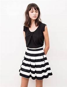 jupe courte plissee noire et blanche femme o jennyfer With jupe a carreaux noir et blanc
