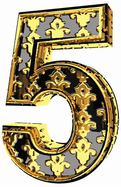 Number Clip Elegant Five Clipart Numbers Decorative