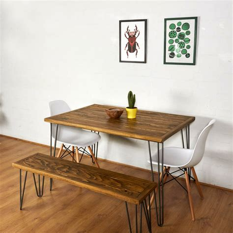 table with bench reclaimed pallet dining table and bench hairpin legs by