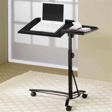 computer desk with casters desks laptop computer stand with adjustable swivel top and