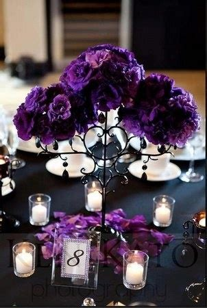 purple and black table settings quinceanera decorations purple floral centerpieces candle table decor sweet 15 ideas