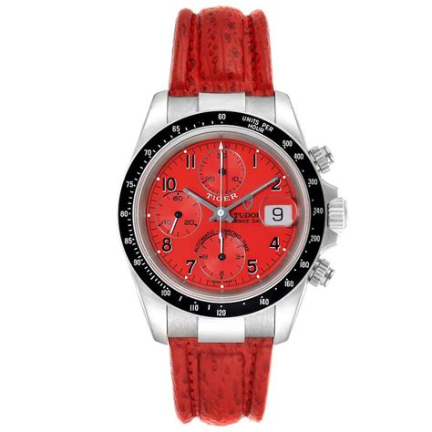 Tudor Tiger Woods Prince Date Red Dial Leather Strap Mens ...