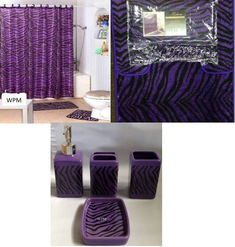 complete bath accessory set black purple zebra animal