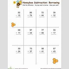Subtraction With Borrowing Honeybees!  Worksheet Educationcom