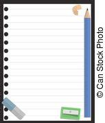 notepad blank page and stationery 1 vector illustration
