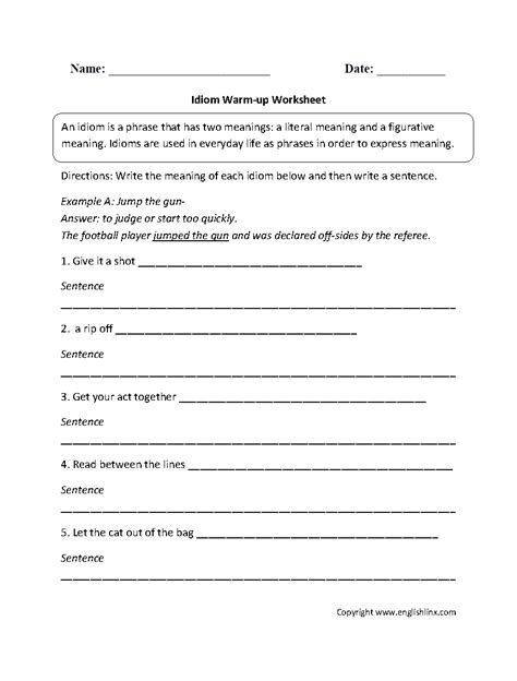 idioms worksheets 2nd grade worksheets for all