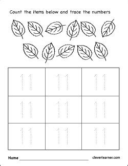 Number Eleven Writing, Counting And Identification Printable Worksheets For Children