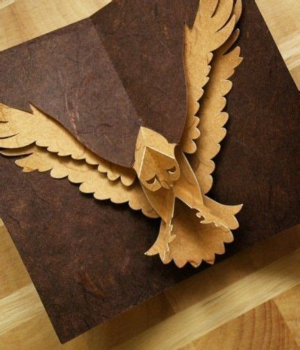 owl pop up card template kirigami hawk popup card make yourself by popupcardmaking