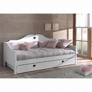 canape lit princesse 1place mdf blanc coeur achat With divan canapé lit
