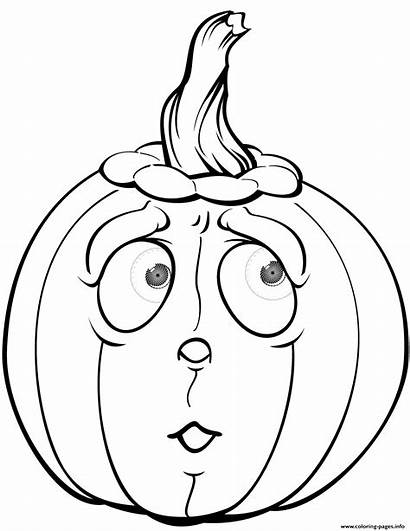 Pumpkin Coloring Halloween Pages Scared Pumpkins Printable